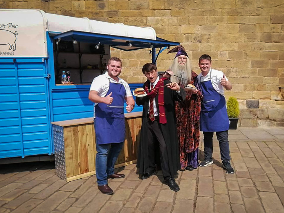 The Rolling Pig Vintage Horsebox with Harry Potter at Alnwick Castle